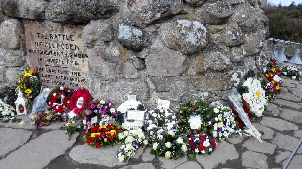 Wreaths at the monument of Culloden Moor