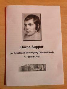 Burns Supper Schottland Vereinigung Erbach